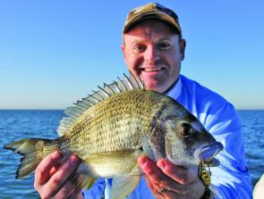Matt Williams with a bruising Redcliffe Peninsula bream.