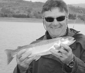 John Waltho trolled up this feisty Jindabyne rainbow. This month the downrigger will be an essential part of successful trolling.