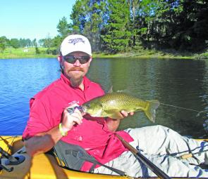 Buzzbaits are among the author's favoured searching lures but in the cooler water this month soft plastics and suspending lures could be more effective.
