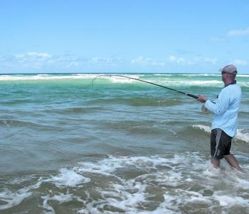 If you want to fish the beach, the best gutters are close to shore. You can spot the darker water easily.