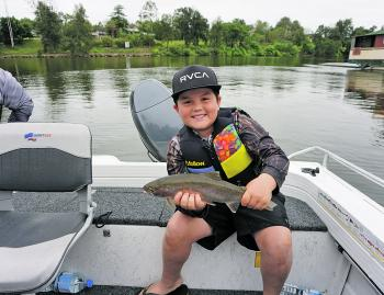 Noah Buttigieg with a great rainbow trout. All the stocked lakes will be worth a throw for trout this month.