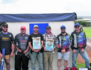 The top three teams: 3rd Team Lowrance HDS (Paul Malov and Alex Franchuk), 2nd Team Wirth Rods (Hugh Wirth and Stuart Duncan) and the Champions 1st Place Team Ever Hopeful (Darryl Baird and Jason Sellings) pose for the crowd.