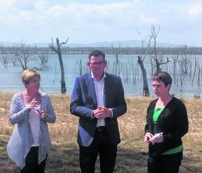 Water Minister Lisa Neville, Premier Daniel Andrews and Fisheries Minister Jaala Pulford make the announcement at Toolondo.