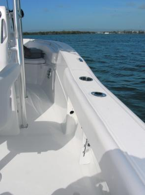 Gunwale top coaming provides plenty of comfort for anglers in the cockpit area of the Sea Fox.