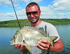 Quality Merimbula Lake bream like this kilo-plus model have been abundant over recent weeks.