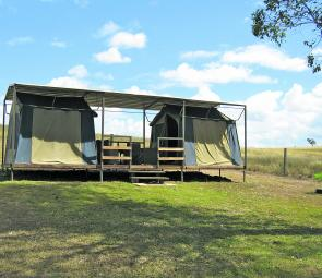 There are two stand alone tents and one double tent set-up in the Bush Camp.