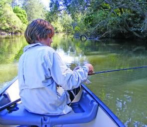 Snag bashing for bass – the ideal situation for a small canoe.