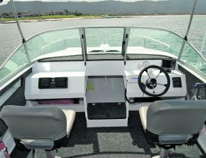 The cockpit is simple and spacious with clear 360 degree vision for the skipper and plenty of storage under the front. The instruments are well set out and easy to see.
