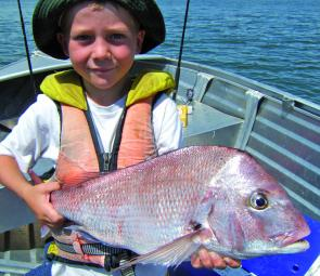 Sam Sherriff shows off his best snapper so far – a 2.7kg specimen.