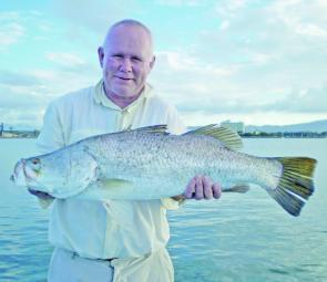 Local fishing legend, Terry McGeachin, caught this 85cm saltwater barra under the guidance of good friend Peter Nolan.