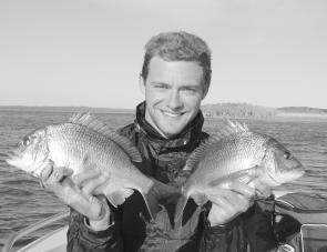 Sydney visitor, Mark Reynolds, with a pair of quality bream from the Bemm.