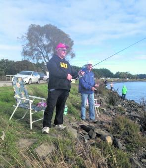 Visiting anglers from Frankston, Rod Kessells and Frank Van Der Heyden relaxing at the mouth of the Tarwin River at Tarwin Lower.