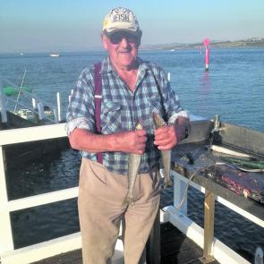 Wonthaggi angler John Bird looks happy with these quality whiting that are in good numbers at Inverloch.