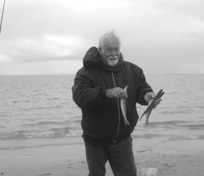 Land-based angler Ron Atherton with some of the whiting he caught near the Bathing Boxes on the run-out tide at Inverloch.