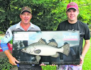 Team EJ Todd (Craig Griffiths and Trent Short) with the Angler of the Year trophy.