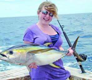 Daughter Sammy Wediburg was not to be outdone, securing this beautiful yellowfin.
