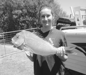 Danielle Dalla-Rosa with a snapper caught off BP in Western Port – this snapper season is shaping up to be another good one.