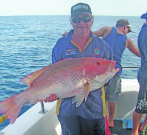 Big mouth nannygai like this trophy, taken aboard Aqua Cat Charters, will be on offer in the deep water throughout September.