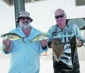 Dave Nash and Barry Mainsbridge had a great day out on Botany Bay chasing a variety of fish with peeled prawns.