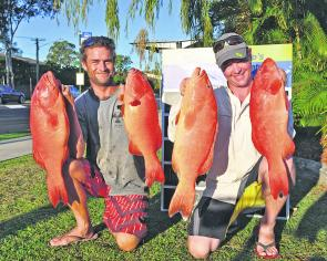 Bob Jeynes from Davo's and his buddy Dave boated these quality coral trout at Sunshine Reef.