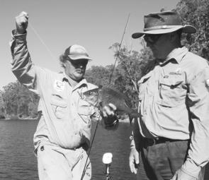 "The author with Roger Thorton and a Mallacoota bream caught on a 3"" olive pearl Berkley Bass Minnow"