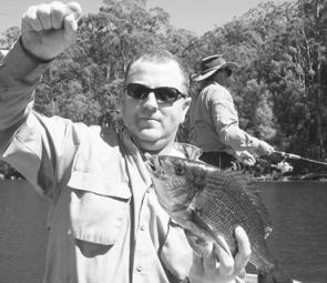 Peter Ferguson with Mallacoota black bream that took a Firebait Longtail Minnow.