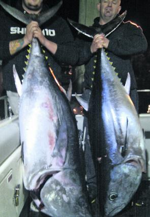 Pete and Baz with a pair of bluefin Barrels aboard Topcat Charters.
