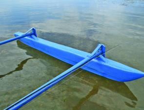 The hydrodynamic shape of the outrigger reduces drag through the water. As a bonus, the outrigger poles make a great place to lash a fly rod to while it is not being used.