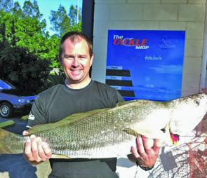 A decent 100cm 8kg jew caught by Brad Stratham at Mud Island.