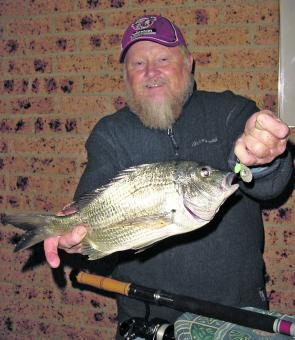 Gary Newman from the Sea Bees Fishing Club with his biggest bream caught on a very unlucky prawn.