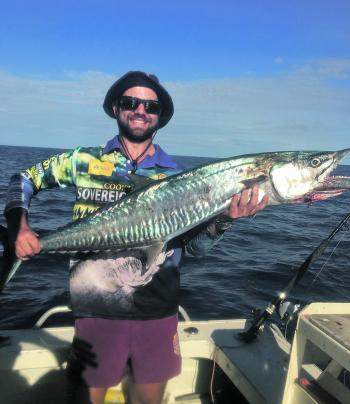 Jimmy Mann was very pleased to land this Spanish mackerel on the reef.
