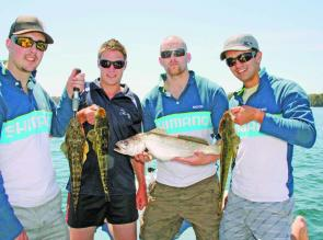 The Shimano boys with a small jewie and some nice flatties for the table.