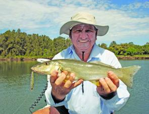 Ron Mason with a 41cm whiting taken on a surface lure.