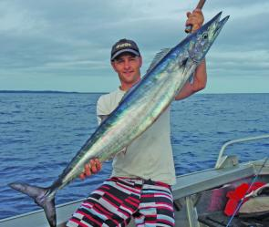 Rowan Pendergast with a decent wahoo. As long as the warm currents are coming in close these guys will be there.