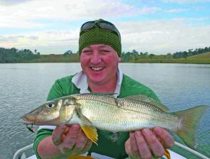 Graham Dawson with a thumping 43cm whiting taken on an Ecogear VX 35 blade. Cold-water whiting respond well to blades.