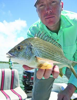 The author caught this bream on a mini vibration lure.