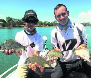 The author and his brother with some decent Mooloolaba bream after a good session of fishing the canals.