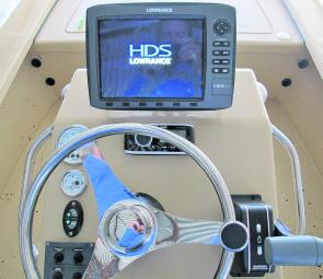 A well set out console on a 5m Beastmaster Snubby – big sounder, hydraulic steering and stereo!