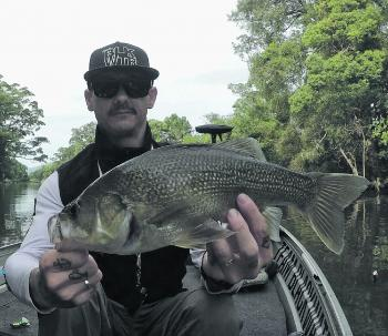 Chris Butler with a fat old Tweed bass caught off the top on a cicada lure.