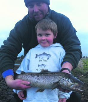 Tim and Liam Lowe with a solid Derwent sea runner.