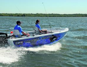 With two aboard and 40hp Vortex outboard, the 420 Hornet Trophy was a lively performer.