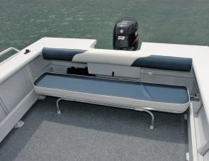 A handy, removable, aft seat is an important feature of the Runabout's main work area.