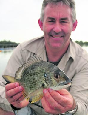 Paul Burke with a nice oyster rack bream that engulfed a Ecogear Aqua Prawn rigged on a worm hook. The Port bream will be safe now that Paul is moving to Hervey Bay.
