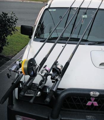 NOT LEGAL: You don't need to be Einstein to figure out that having your bullbar rod holders on the right hand (driver's side) of the vehicle is not a wise choice. This will greatly decrease your vision of the road, which could lead to an accident.