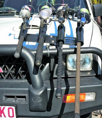 NOT LEGAL: However, even in this position, your rods cannot obstruct your driving lights or extend forward past the front profile of the bullbar where they could possibly cause injury to someone while the vehicle is underway or parked. Putting a tu