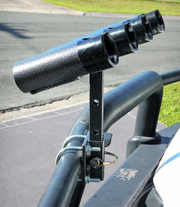 NOT LEGAL: Bullbar rod holders cannot be left on the vehicle when not in use if they protrude forward of the bullbar. You can turn a standard model around so it is behind the front profile of the bullbar when not in use and this is legal providing