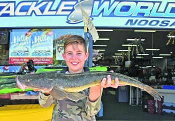 Noah Basset-Rouge caught this 66cm flathead in Weyba Creek while fishing with his grandad.