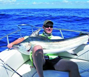 Peter Morris landed this black marlin that took a liking to his trolled gar out at Chardons Reef.