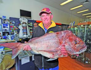 Jim Monger with a thumper 10.2kg snapper caught off Moreton Island.