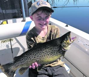 Jet Waters, 8yo, with his 1.87kg Toolondo brown.